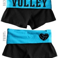 Juniors Two Tone Fold Over Volleyball Spandex Shorts Pink or Turquoise (Large, Black/Turquoise)