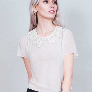Cakewalk - Sheer ivory shirt with lace collar