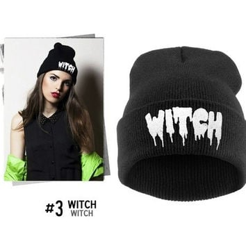 Order get gift New Fashion 2015 Unisex Women Men Autumn Winter Punk Letter Knitted Cap Elastic Hat WITCH Hip-hop Pullover Warm Wool Hats (Color: Black) = 1958117252