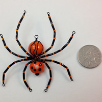 Orange & Black Beaded Spider Pendant