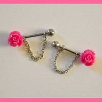 Pink Rose Flower Nipple Ring 14 ga Barbell Body Jewelry Stainless Steel 1 Set