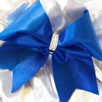 Royal Blue & Silver Cheer Bow for Cheerleaders