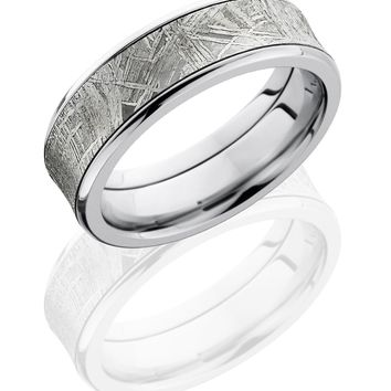 Cobalt Chrome wedding ring hand crafted 7mm Concave Band with Beveled Edges and 5mm Meteorite