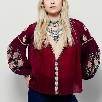 2018 heavy embroidery women chic shirts loose casual boho hippie style blouses hot sale fashion fall clothing floral top shirt