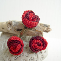 Red rose crochet earrings and ring set - Spring fashion 2013 - Valentines day gift - miniature rose earrings