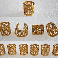 Dread Lock Dreadlocks Braiding Beads Golden Metal Cuffs Hair Accessories Decoration Filigree Tube 8mm 10pcs Pack