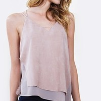 Neutral Suede Top*