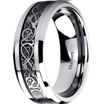 CERTIFIED 8MM Titanium Mens Womens Rings Celtic Dragon Inlayed Wedding Bands