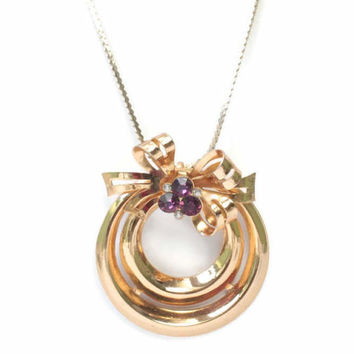 Coro Purple Rhinestone Pendant with Bow Gold Tone Necklace 1948 Adolph Katz Vintage