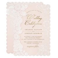 Blush Pink Floral Lace Wedding Invitation