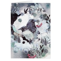 Raven Pair - Abstract Winter Scene Card