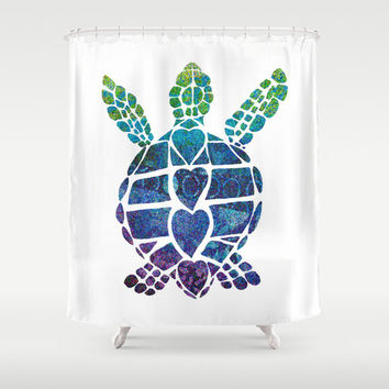 "Sea Turtle Shower Curtain - ""Turtle Island""  Watercolor , Blue Sea Turtle,  beach, surfer, teen decor, honu, coastal bathroom, extra long"