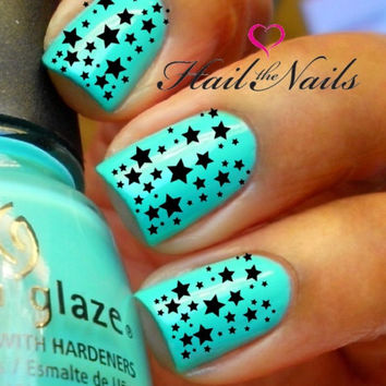 Nail WRAPS Nail Art Water Transfers Decals - Black Stars Y143
