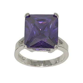 Large Emerald Cut Silvertone Single Stone Fashion Ring in Vivid Purple Cubic Zirconia