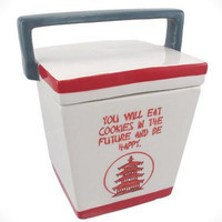 Chinese Take-Out Box Ceramic Cookie Jar Fortune
