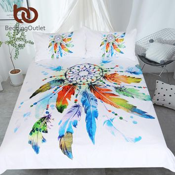 BeddingOutlet Dreamcatcher Bedding Set Watercolor Bohemian Duvet Cover With Pillowcases 3-Piece Colorful Exotic Bedclothes