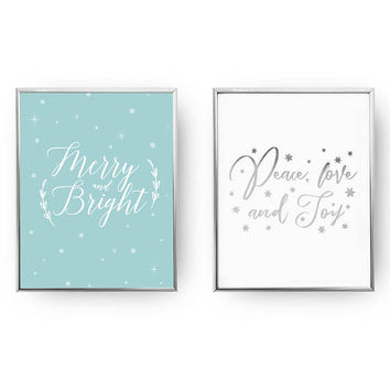 Set Of 2 Prints, Merry And Bright, Peace Love And Joy, Xmas Art, Winter Sign, Christmas Print, Christmas Decor, Real Gold Foil, Holiday Sign