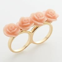 LC Lauren Conrad Gold Tone Flower Two Finger Ring