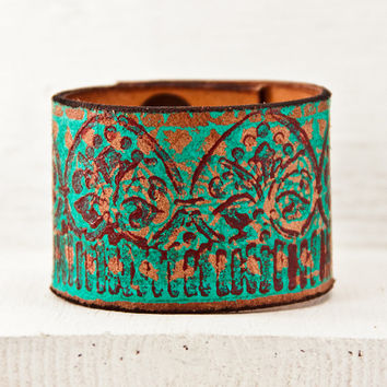 Turquoise Jewelry Southwest Leather Cuff - 2016 Trends - Boho Accessories Teal Bracelet - Women's Leather Bracelet