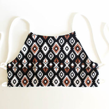 tribal halter tops,Swimwear,swimsuit,high neck bikini,high neck swimwear,high neck,bikini top,S,M,L,XL
