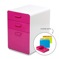 White + Pink Fully Loaded West 18th 3-Drawer File Cabinet