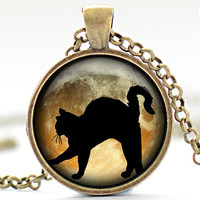 Black Cat Necklace, Black Cat and Orange Jewelry, Black Cat Pendant, Black Cat Charm, Your Choice of Finish (1184)