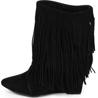 Urban Cowgirl Black Wedge Fringe Boots