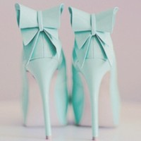 Shoes: high heels bow ties blue green blue green cute tumblr