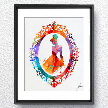 Cinderella Disney inspired Princess Watercolor Print Archival Fine Art Print Children Wall Art Wedding Gift Home Decor Wall Hanging Item 326