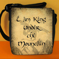 I am King Under the Mountain - Messenger Shoulder Bag, Hobbit inspired Small Bag with Smaug, Lord of The Rings Bag