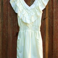 Romantic White Ruffle Dress [2244] - $34.00 : Vintage Inspired Clothing & Affordable Summer Dresses, deloom | Modern. Vintage. Crafted.