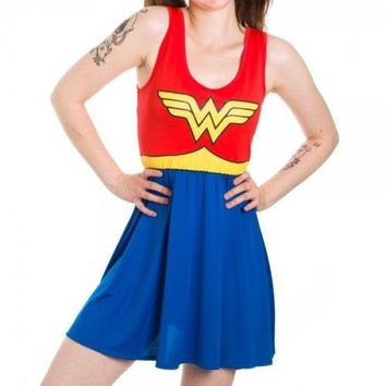 Wonder Woman Costume Dress DC Comics Tank Dress Skater Dress