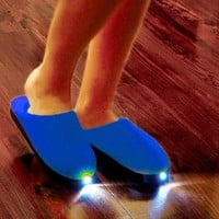 BRIGHT FEET LIGHTED SLIPPERS NAVY LADIES SIZE MEDIUM 8-10 (THE SLIPPERS THAT LET YOU SEE IN THE DARK!)