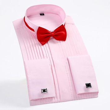 """Men's Wing Collar 1/4"""" Pleat Tuxedo Shirt with French Cuffs (Cufflinks&Bow Tie Included) Long Sleeve Wedding Bridegroom Shirts"""