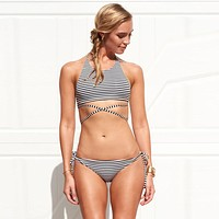 Women Striped Swimsuit Cut Out Bikini Set for Summer