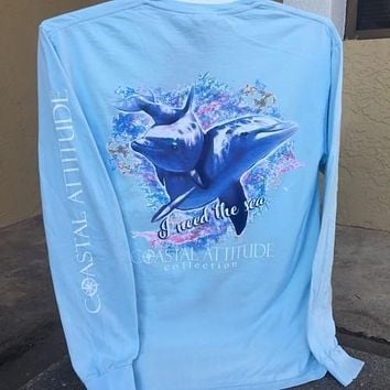 Southern Attitude Preppy Watercolor Dolphin Blue Comfort Colors Long Sleeve T-Shirt