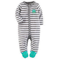 Carter's Boys Grey/White Striped Snap Up Terry Footie with a Green Monster Applique and Foot Detail