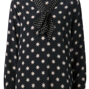 CREYONJF Equipment bow collar star print blouse