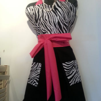 Vintage Inspired Pin-Up Girl Apron, Zebra and Bubble Gum Pink