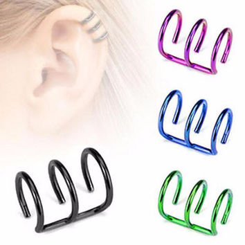 2Piece 2016 New Punk Ear Cuff Women's Spring Jewelry Green Tragus Stainless Steel 3 Rings Ear Cuff Clip Men Fake No Percing