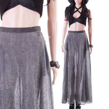Sheer Metallic Silver Crinkled Maxi Skirt 90s Vintage Minimalist A-Line Futuristic Goth Chic Clothing Womens Size Small