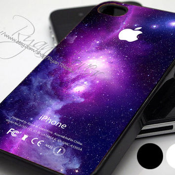 Cute Purple Galaxy Nebula with Apple Logo - Print Hard Case - iPhone 4/4s Case - iPhone 5 Case - iPod 4 / 5 - Black - White (Option Please)