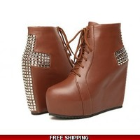 Cross wedge ankle boot