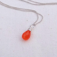 Orange Carnelian Necklace, Bright Orange Citrine Teardrop on Sterling Silver