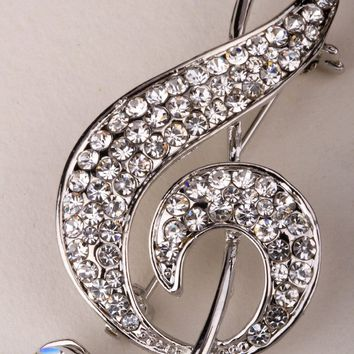 Music note brooch pin for women girls crystal fashion jewelry charm ZP07 gold & silver color