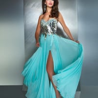 Mac Duggal Prom 2013- Aqua And Silver Dress - Unique Vintage - Cocktail, Pinup, Holiday & Prom Dresses.