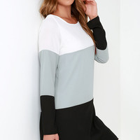 Block it Out Grey and Black Long Sleeve Shift Dress