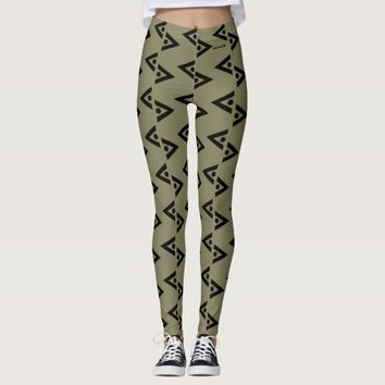 BLACK AND TAUPE LEGGINGS ABSTRACT HAVIC ACD