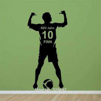 Football Soccer Ball Personalized Name & Number Vinyl Wall Wall Decal Poster Wall Art Children Wall Sticker Kids Room Decor -461