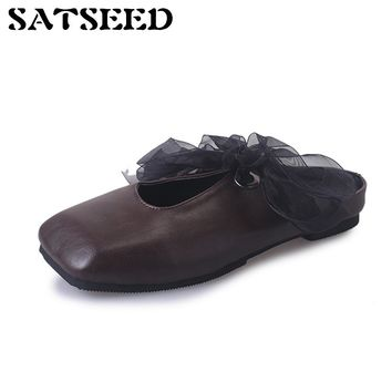 Flats Spring Autumn Lace Up Square Toe Rome Europe United States Two Wear Loafer Retro Metal Ring Buckle Pedal Women's Shoes